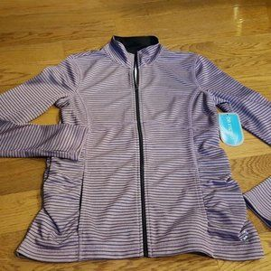 BE INSPIRED purple striped ruched jacket sz XS NWT